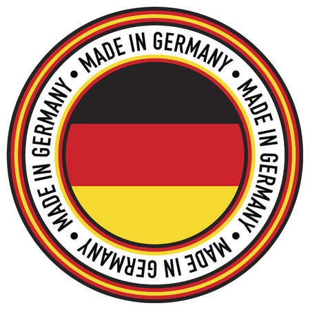 german: A Made in Germany rubber-stamp like circular decal. Illustration