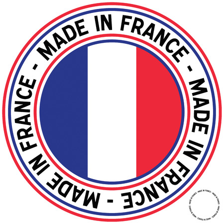 A Made in France rubber-stamp like circular decal.