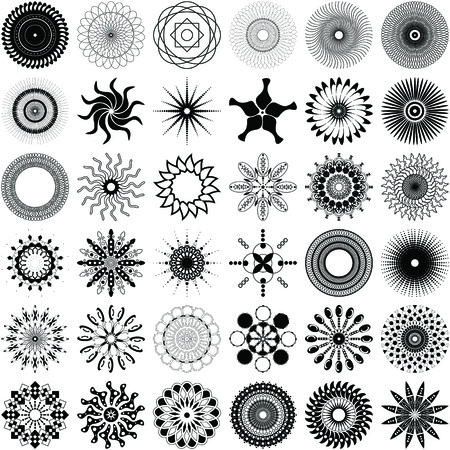 A set of 36 unique, intricate spiral design elements