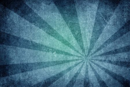 A high-detail, distressed, grunge style blue-burst background or wallpaper texture with sun rays elements. Standard-Bild