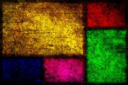 グランジ スタイルでの 5 つの異なる色のフィボナッチ ボックスの背景イメージです。