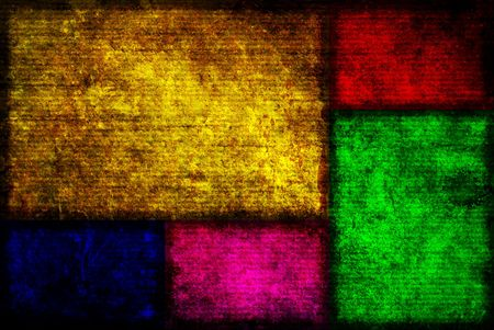 sectioned: Background image of Five different colored Fibonacci boxes in a grunge style.