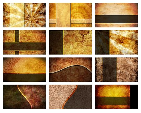 A collection of 12 unique business card backgrounds. Each individual card will print at 3 inches by 2 inches at 300dpi. Foto de archivo