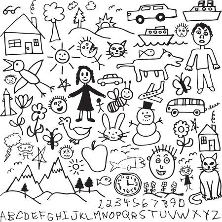 Un conjunto de único dibujado a mano, hijo como dibujos  Foto de archivo - 7141706