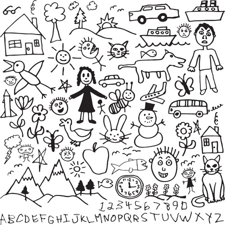 A set of unique hand drawn, child like drawings  Vettoriali