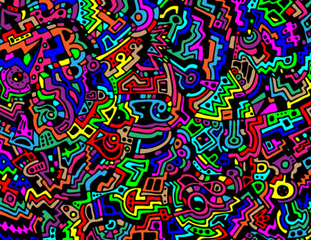 A colorful and cartoon-ish, contemporary style hand-drawn abstract vector background in an 8.5 X 11 aspect ratio. Illustration