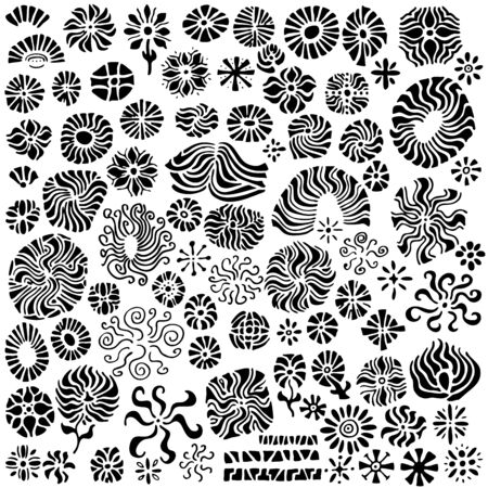 A collection of over 80 abstract, hand-drawn floral design elements.