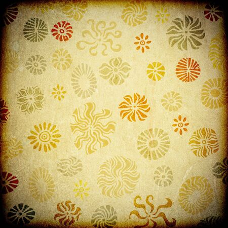 A grunge background texture featuring retro style floral graphics