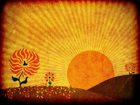 old pc: Illustration of a large sun rising behind the hills of an autumn meadow.