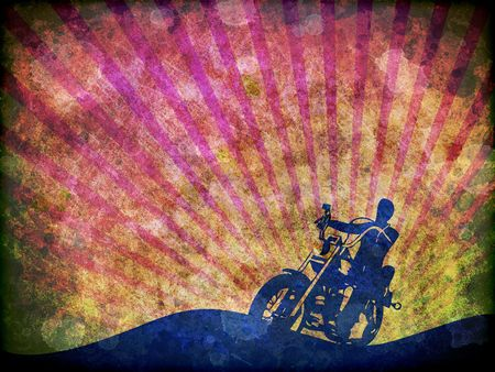 A grunge style illustration of the silhouette of a motorbike rider. illustration