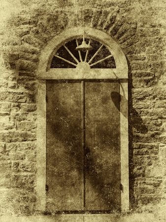 simulate: An old door on a stone wall - photo has been texturized and distressed to simulate an early 20th century style photograph.