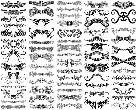 A set of 65 unique, decoratve, ornamental design elements, borders, flourishes, horizontal rules, and dividers.