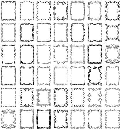 40 以上のユニークなコレクション、手描きのボーダーとフレームのデザイン要素  イラスト・ベクター素材