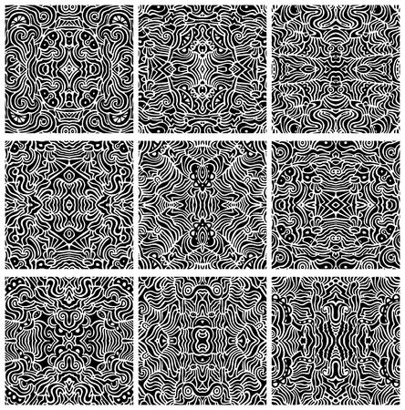 Naadloze: Een verzameling van negen, hand getekende, naadloze abstracte achtergronden of patronen