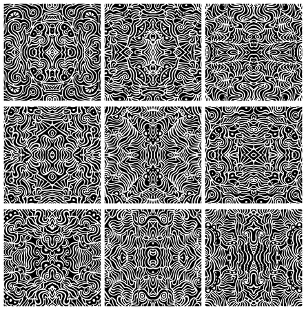 A collection of nine, hand-drawn, seamless abstract backgrounds or patterns   Illustration
