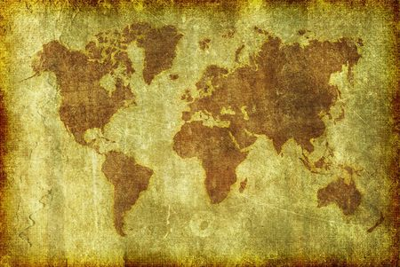 A map of the globe done in a grunge illustration style as a background, wallpaper or texture.