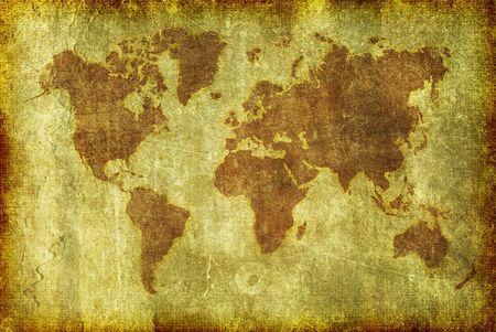 Un mapa del mundo realizado en un estilo de ilustración de grunge como fondo, papel tapiz o textura.  Foto de archivo - 7607124