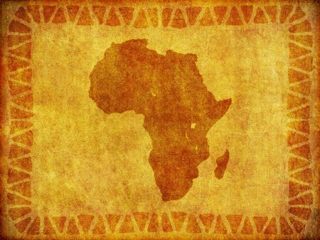 A background design of the continent of Africa imprinted on a piece of aged material.