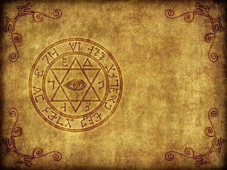wiccan: Illustration of a burned-in, aged ancient magical sigil or seal on a worn, textured background.