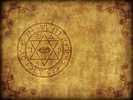 ocultismo: Ilustraci�n de una antigua sigil m�gico de quemado en, a la edad o el sello sobre un fondo con textura, desgastado.