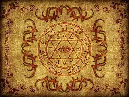pentacle: Illustrazione di un sigillo magikal antico e mistico.