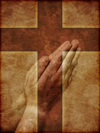christian background: Praying Hands Superimposed over Christian Cross - textured illustration.