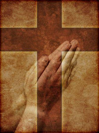 cat�licismo: Rezando manos superimpuesta sobre Christian Cruz - ilustraci�n con textura.  Foto de archivo