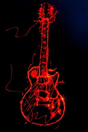 レーザー光の中で、黒の背景上に描画、エレク トリック ギター アウトラインの図 写真素材