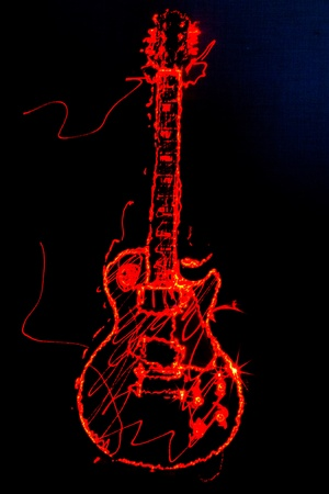 Illustration of an electric guitar outline, drawn in laser-light on a black background Archivio Fotografico
