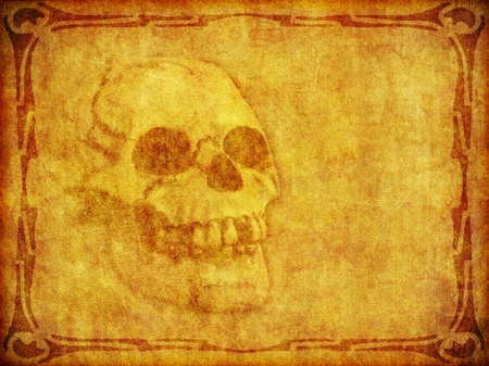 An old looking piece of parchment with skull image burned in and copy space for your text or images.