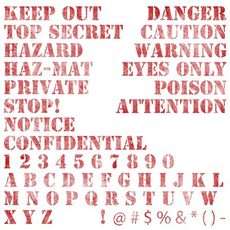 A collection of faded and scratched warning notices and text isolated on white.