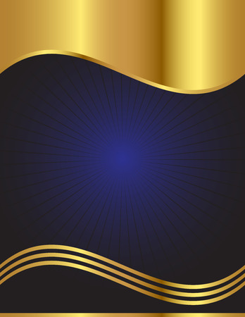 An elegant background in dark blue with gold trim Stock Vector - 8627062