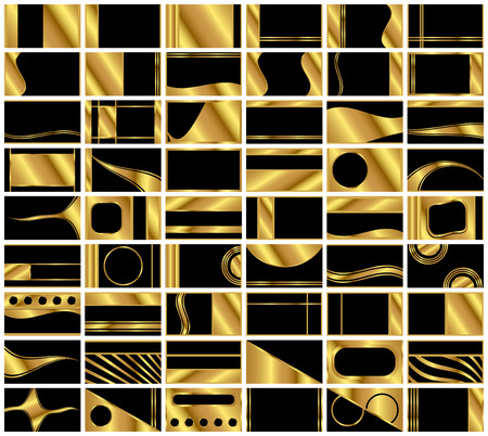 A collection of 54 very elegant business card backgrounds in black and gold. Formatted in standard business card 1.75 aspect ratio.
