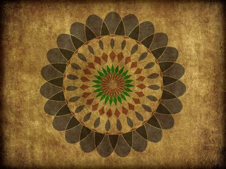 A floral spiro type, or mandala pattern on rough background texture. photo