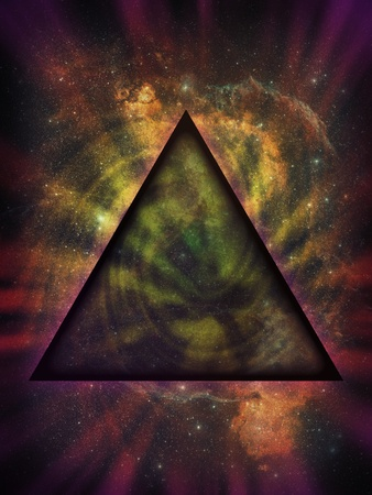 concept magical universe: Ilustraci�n de un tri�ngulo ominoso, m�stico, negro frente a la nebulosidad y estrellas de un fondo de espacio profundo.