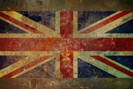 Illustration of a grunge style British flag - Union Jack on rough stone surface Archivio Fotografico