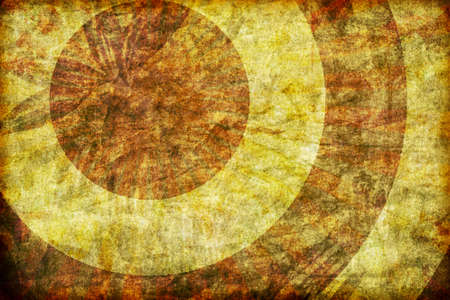 Rough, distressed grunge background with concentric rings illustration. Banco de Imagens