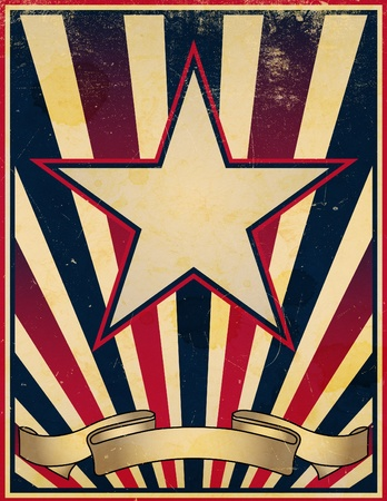 retro: A damaged, worn and faded stars and stripes themed vintage retro poster background.