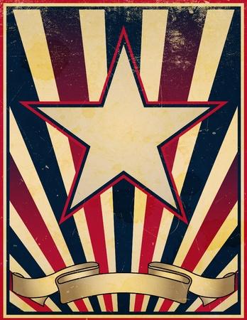 rayures vintage: Un �toiles endommag�, us� et fan� et rayures sur le th�me de fond d'affiches anciennes r�tro. Banque d'images