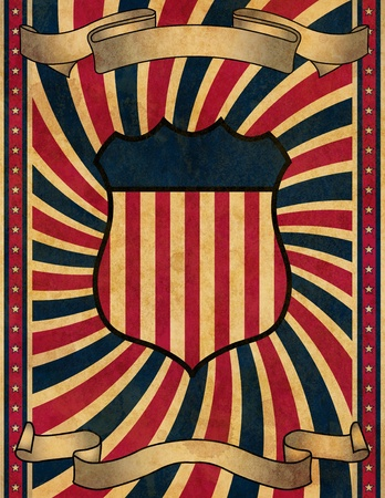 old glory: A vintage, retro style poster design background or playbill. Stock Photo