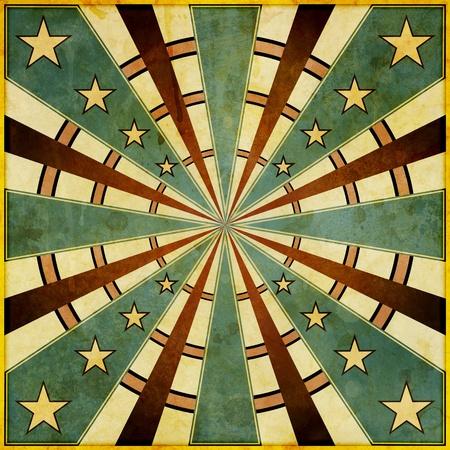 A square, grunge style, dart-board like design illustration. Фото со стока