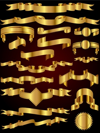 A collection of many gold ribbon vector illustrations perfect for use as design elements