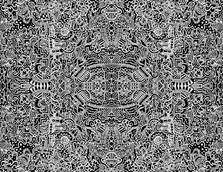 A highly complex, symmetrical, abstract seamless illustration.