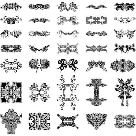 Een verzameling van 35 zeer uniek, abstract, handgetekende vector ontwerpelementen Stock Illustratie