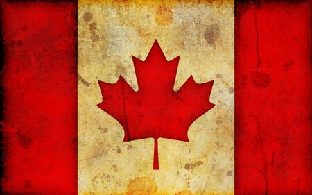 canadian flag: An old, stained and scratched canadian flag in a grunge illustration style and in a widescreen aspect ratio. Stock Photo