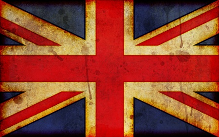 old english: An old, dirty and stained grunge style illustration of the flag of Great Britain, the Union Jack - a widescreen aspect ratio.