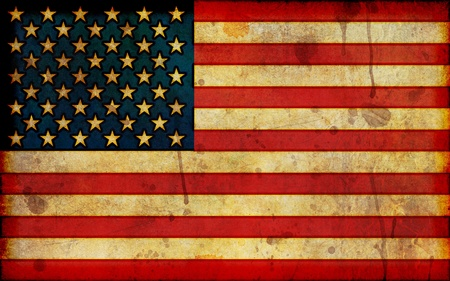 A dirty, stained flag of the United States in a grunge illustration style and in a widescreen aspect ratio.
