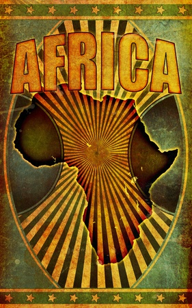 A retro style, grunge poster illustration with the word Africa in bold title lettering and a silhouette graphic of the African continent. illustration