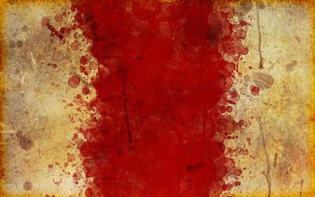 大規模な羊皮紙の非常に古い、ぼろぼろと汚されたページ、赤真ん中血汚れ飛び散った。 写真素材