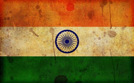 tricolour: An old, dirty and stained grunge style illustration of the flag of the Republic of India - in a widescreen aspect ratio. Stock Photo